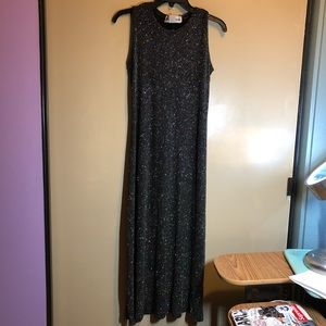 vintage black glittery evening gown or prom dress